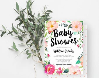 Floral Baby Shower Invitation, Bohemian, Girl Baby Sprinkle, It's a Girl, Watercolor Floral, Pink, Magenta, 902