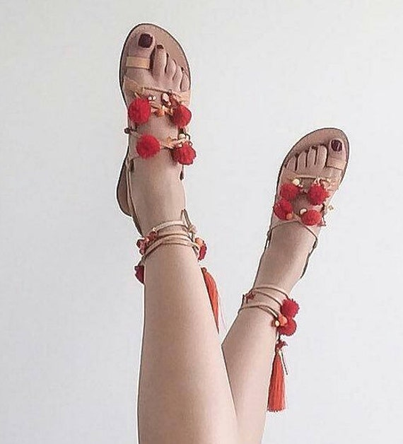 SALE !Greek Sandals, Tie Up Gladiator Sandals, Pom Pom Sandals Sandales grecques
