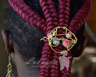 Maroon African Brass Hair Clip,Turquoise African Loops,Turquoise&Maroon African jewelry