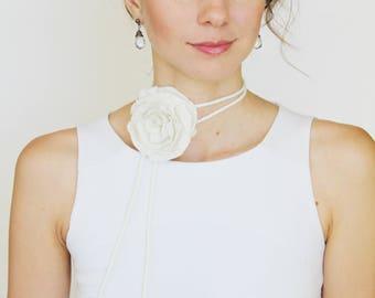 Felted Flower Necklace, Wedding Hair Flower, Gift For Bride, Cord Necklace, Rose Necklace, Felt Bracelet, Bridal Jewelry, Flower Accessory