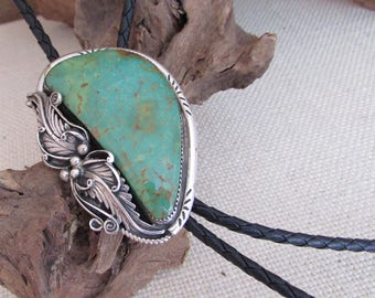 Vintage 70s Bolo Tie   Stamped Silver Bolo Tie with Large Turquoise Stone   Rockabilly, Western, Boho, Biker