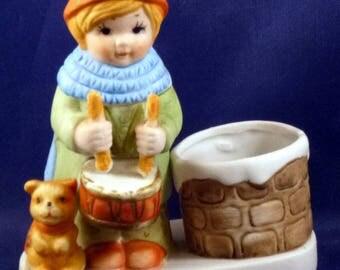 Vintage Ceramic Little Girl Playing Drum Candle Holder, 1980