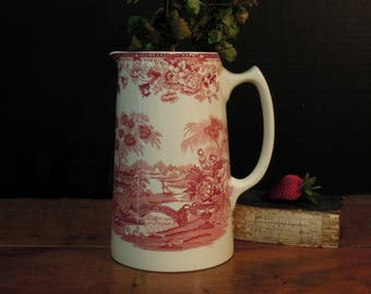 Vintage Red Transferware Jug / Pitcher / Clarice Cliff / Tonquin / English Transferware / Red Staffordshire Pitcher
