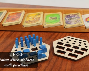 "Settlers of Catan Resource Card Holder, With 2 Free Piece Organizers, Card Organizer, 14-1/2"" x 3-5/8"", Solid Cherry wood, Paul Szewc"