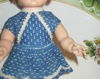 """Little 11"""" Plastic/Vinyl Doll w/Painted on Eyes Vintage"""