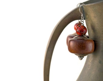 Handmade Chunky Bohemian Wood Earrings Lampwork Art Glass Sterling Silver Brown Orange Wooden Beaded Drop Earrings Boho Hippie Jewelry