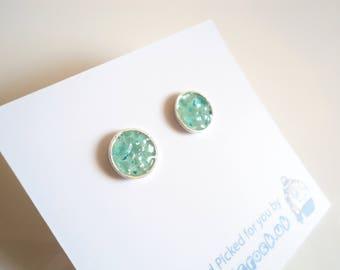 Sea Glass earrings of Aqua and Seafoam 8mm rockpool stelring silver studs  E1671 - from Seaham,  UK