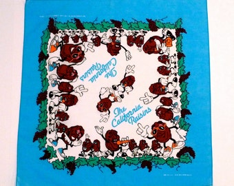 California Raisins Bandana Scarf 1988 Vintage Singing and Dancing Raisins Handkerchief I Heard It Through The Grapevine 1980s Plattermatter