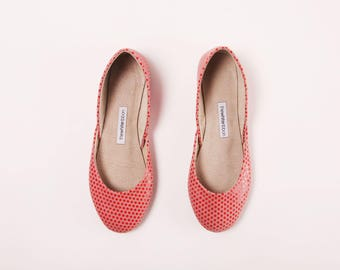 Handmade Leather Ballet Flats | Red Polka Dots | Ballet Flats | Last Pair, size 38 | Ready to Ship