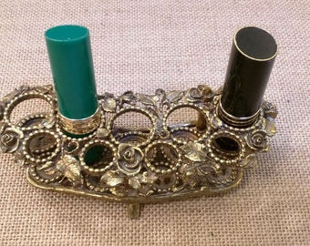 Vintage Brushed Gold Floral Rose Filigree Lipstick Holder Matson