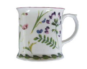 Wild Peas Hand Painted English Bone China Mug