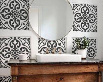 Moroccan Wall STENCIL -  Tile Pattern no. 6 - REUSABLE, Easy Wall Decor, DIY Home