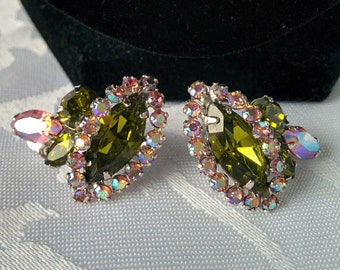 Vintage Sherman Clip On Earrings, Sherman Clip Back Earrings, Aurora Borealis Earrings
