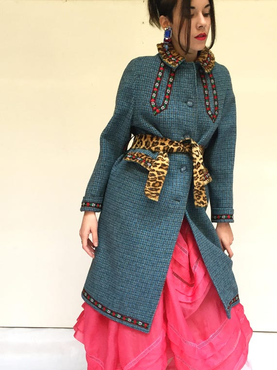 LOLA DARLING Blue Tweed Coat with Belt. Recovered from Selected Vintage. Embroidered Tyrolese and Animal Print. Trimmings Handmade in Italy