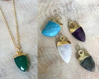 Gold Arrowhead Necklace in Amethyst, Labradorite, Moonstone or Green Onyx or Turquoise Horn