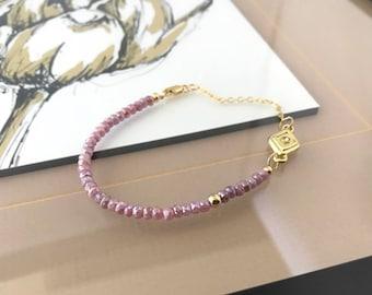 Gold Pink Sapphire Bracelet with CZ Charm