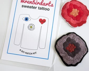 Hand embroidered patch kit, DIY embroidery kit, flower sweater tattoo kit