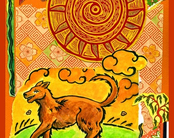 Sun Dog Archival Handmade Art Card, 5 x 7 Blank Greeting Card