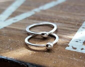 18g Fine Silver Hoops, Ball Earrings, Artisan Cartilage Hoops, Nose Rings - 7mm, 8mm, 9mm or 10mm