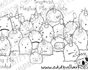 Digital Stamp Instant Download Cute Whimsical Crowd of Unicorns & Sprites ~ Magical Pile of Cute  Image No. 431 by Lizzy Love