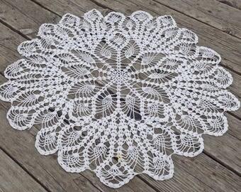 Large White Crochet Table Doily, 24 inch Table Cover, Crochet Mandala Tablecloth, Boho Home Decor, Side Table Doily