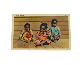 Authentic 1940s Black Americana Postcard - Three of a Kind - Unused Postcard Politically Incorrect Classic Black Americana Postcard