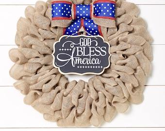 God Bless America 4th of July Wreath, Patriotic Wreath, Summer Wreath, Patriotic Decor, Front Door Wreaths, Large Premium Wreath