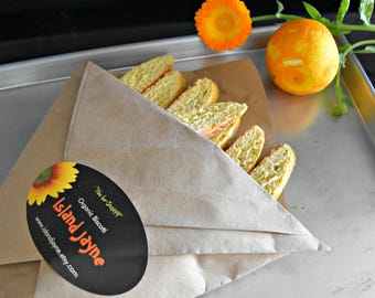 Biscotti Cookies, Biscotti, Orange Biscotti, Orange, Biscotti, Italian Cookies,Cookies, Hostess Gift, Teacher Gift, Stocking Stuffer