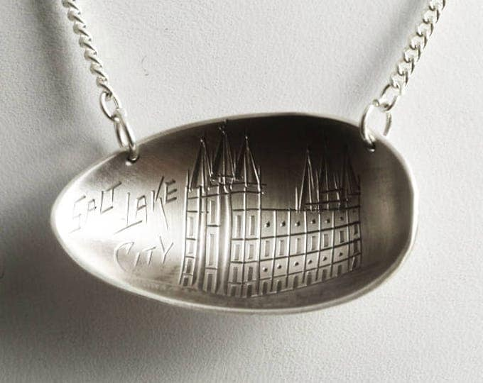 Salt Lake City Necklace, LDS Temple, Sterling Silver Spoon Bowl Necklace, LDS Gift, 925 SLC Temple Necklace, Unique Gift Her and Him (6817))