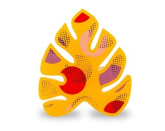 Tropical Retro Yellow Monstera Leaf Big Ring - Adjustable Hawaii Colorful Pink Red Lilac Pattern Memphis Style Vintage Banana Palm