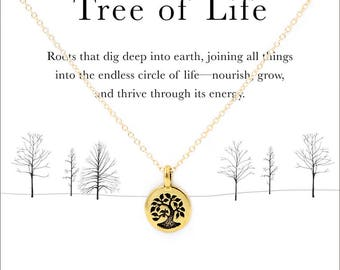 Tree of life meaning etsy tree of life 14k gold filled or sterling silver chain necklace 18 or 20 mozeypictures Image collections