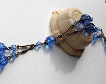 Vintage Art Deco Blue Glass Necklace Flapper Necklace