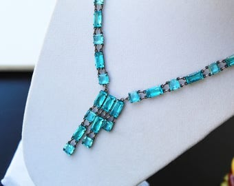 Vintage Art Deco Sterling Silver and Aqua Blue Glass Necklace Open Back