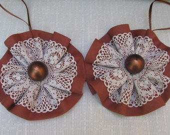 Country Brown Christmas Ornaments, Retro Tree Ornaments, Brown Cotton and Beige Lace Trim Ornament, Set of 2, Holiday Ornaments