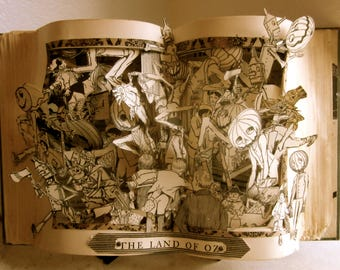 Wizard of Oz altered book pop up style  1920 book the popular edition Antique piece of Art OOAK