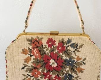 Beautiful vintage french tapestry handbag, vintage tapestry, french tapestry purse, La Marquise purse, vintage floral handbag, boho handbag