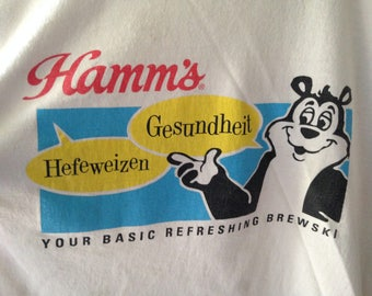 Free Shipping! Vintage Hamm's Beer T-Shirt, 1990's Beer T-Shirt, Hamm's Bear Shirt, Boyfriend Gift