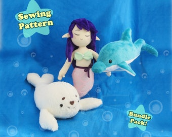 Digital Sewing Pattern Mermaid Dolphin Arctic Seal Bundle Pack | Mermaid Doll Sewing Pattern Dolphin Plush Pattern Seal Plush Pattern