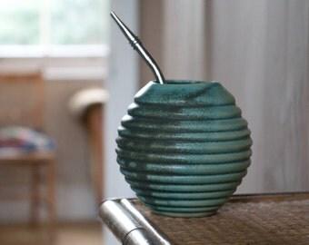 Yerba Mate Ceramic Gourd in Green Mat, Handmade Mug for Yerba Mate