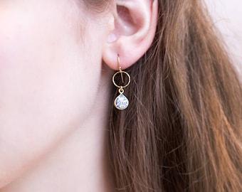 Dendrite Opal Gem Drop Earrings, 14k Gold Filled Minimalist Earrings, Tiny Stone Drops, Tear Drop Gemstone, Gift for Her, Marble Jewelry