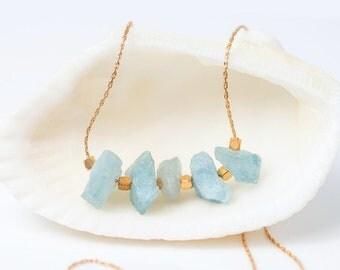 Raw Aquamarine Necklace, Rough Aquamarine Stone Bar Necklace, Raw Crystal Necklace, March Birthstone Layering Necklace, Beaded Bar Necklace
