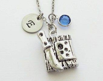 Cheese Board Necklace, Culinary, Food, Chef, Wine Jewelry, Swarovski Birthstone,Silver Initial,Personalized, Monogram,Hand Stamped Letter