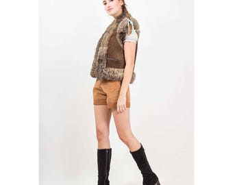 Vintage shearling and fur vest / 1970s Afghan hippie style sheepskin and rabbit fur unisex cropped vest / S M