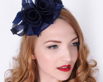"Navy Blue Fascinator - ""Emelia Rose"" Navy Blue Fascinator Hat Headband w/ Round Sinamay Base"