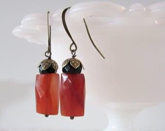 Carnelian Art Deco Drops // Gemstone Dangle Earrings