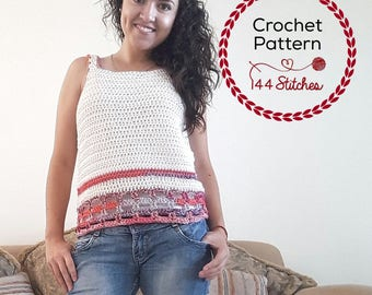 Crochet Tank Top Pattern, Nantucket Sleeveless Tee Crochet Pattern, Instant PDF Download