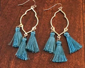 Turquoise/Blue Vintage Style Tassel Earrings on a French hook