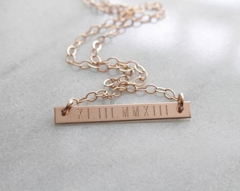 Roman Numeral Necklace. Personalized. Engraved Personalized Necklace. Personalized Bar Necklace. Bar Necklace. Roman Numeral Necklace.