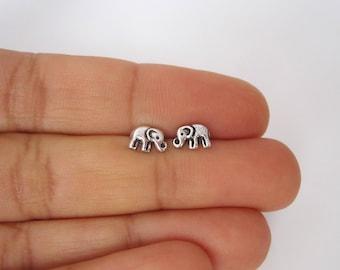 Small ELEPHANT sterling silver stud earrings