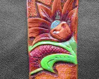 floral keychain, lily keychain, leather key ring, leather key fob, leather keychain, floral fob,lily key fob